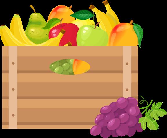 Basket of fresh fruit animation