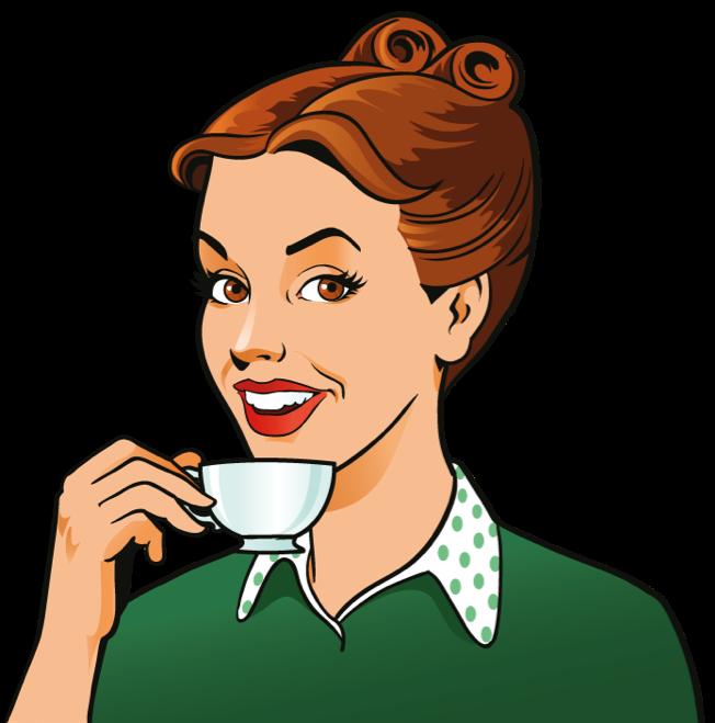 Woman holding a mug of office coffee animation