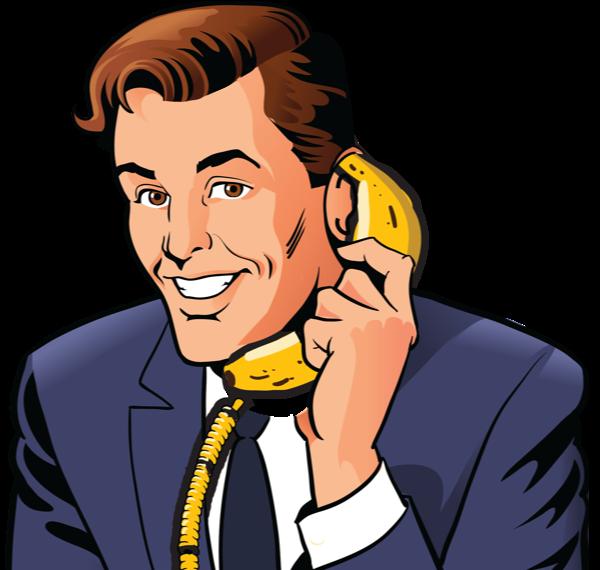 Man talking on a banana phone